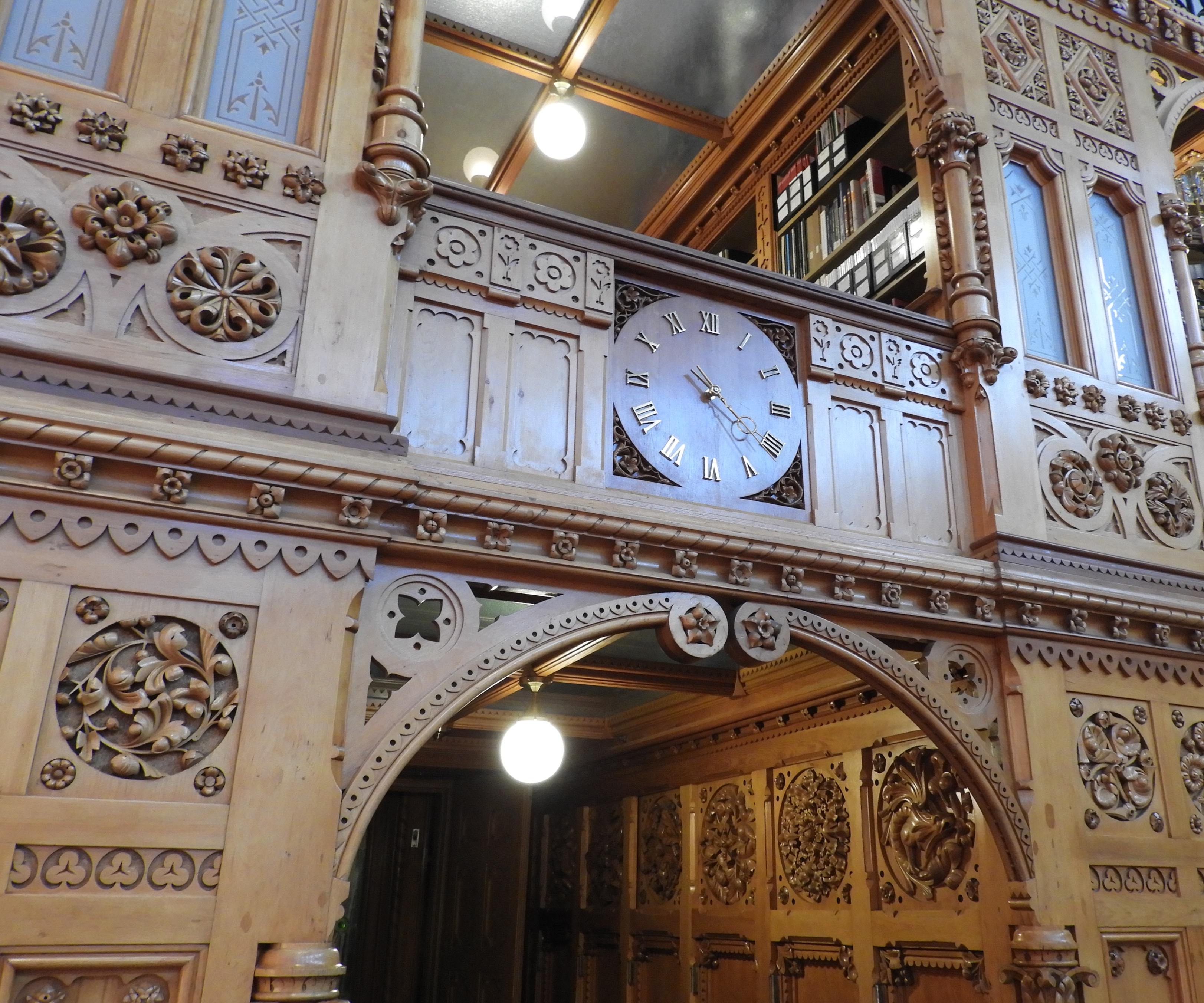 library clock, carvings